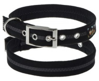 Faux Suede Black Dog Collar