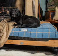 Tartan Orthopaedic Raised Wooden Dog Bed