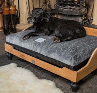 Chenille Velvet Orthopaedic Raised Wooden Dog Bed