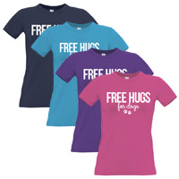 Women's Slogan T-Shirt - Free Hugs For Dogs