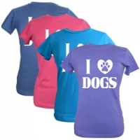 Women's Slogan T-Shirt - I Love Dogs