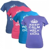 Women's Slogan T-Shirt - Keep Calm & Walk The Dog