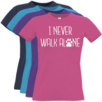 Women's Slogan T-Shirt - I Never Walk Alone