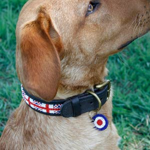 Beaded Leather Dog Collar - Union Jack