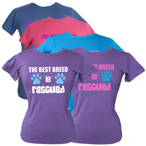 Women's Slogan T-Shirt - The Best Breed is Rescued