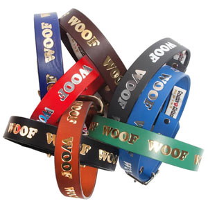 Woof Embossed Leather Dog Collar