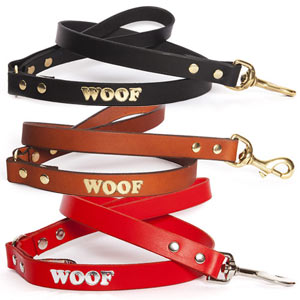 Woof Embossed Leather Dog Lead