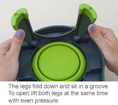 how to open the legs on the raised dog bowl