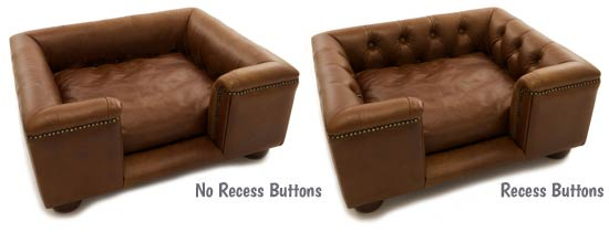 Luxury leather sofa dog bed recess button options