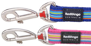 Red Dingo Dog Lead horizontal pink or blue stripes