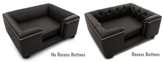 Black leather sofa dog bed recess buttons options