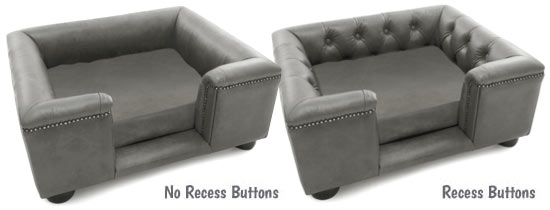 Steel grey sofa dog bed with recess buttons options