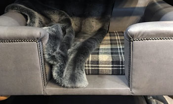 steel grey faux leather dog bed