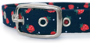 navy dog collar with strawberries