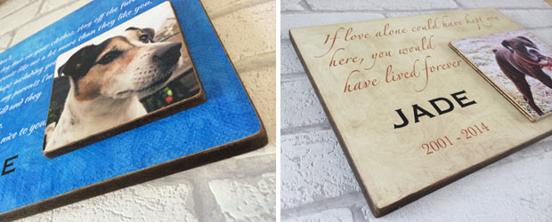 text and photo wooden dog plaques