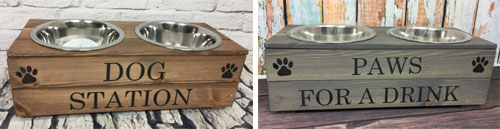 Wooden dog feeders in oak and grey stain