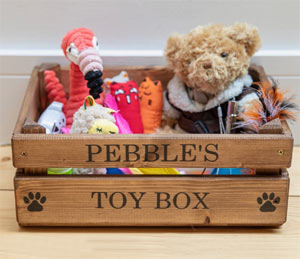 wooden personalised dog toy box