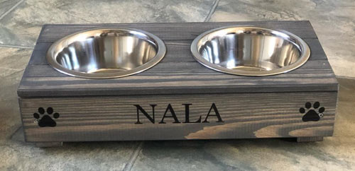 Personalised Grey Double Dog Bowl Feeder