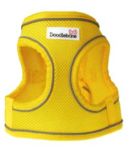 Snappy yellow dog harness